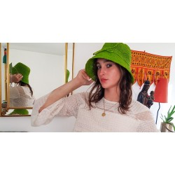 Chapeau Crochet Mon Beau Bob Vert Fait Main