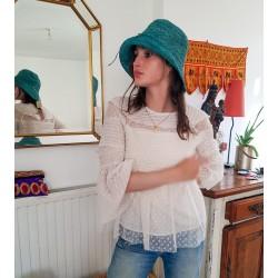 Chapeau Crochet Mon Beau Bob Bleu Cyan Fait Main