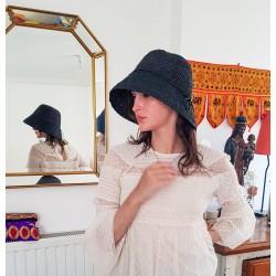 Chapeau Crochet Mon Beau Bob Noir Fait Main