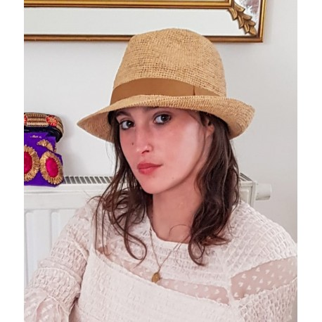 Chapeau Crochet  Fedora Longue Vie Fait Main Bande Or Mat
