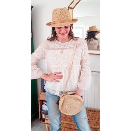Chapeau Crochet  Fedora Longue Vie Fait Main Bande Cuir
