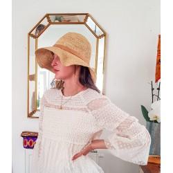 Capeline Crochet  Paille Naturelle Fait Main Bande Cuir
