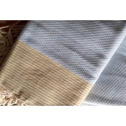 Fouta - Serviette plage 100 x 200 Nid d'abeille Pur Coton