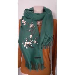 Echarpe Femme Vert Sapin Floral