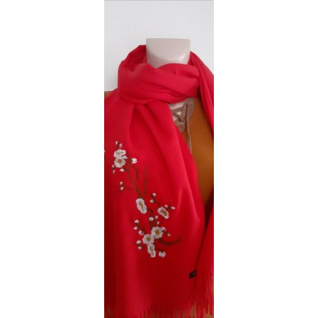 Echarpe femme Florale rouge