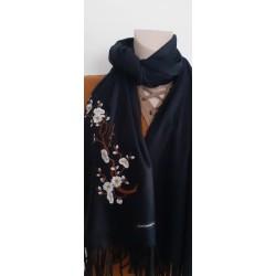 Echarpe femme Florale Noire