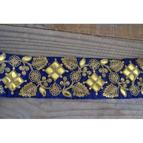 Or Capitonne sur Bleu Nuit 6,8 cm